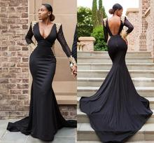 Sexy African Mermaid Prom Dresses 2020 vestidos de gala Backless Long Sleeve Black Girl Formal Evening Dress vestidos de gala dark red mermaid prom dresses 2019 african long sleeve evening dress sheer black girl women party gowns