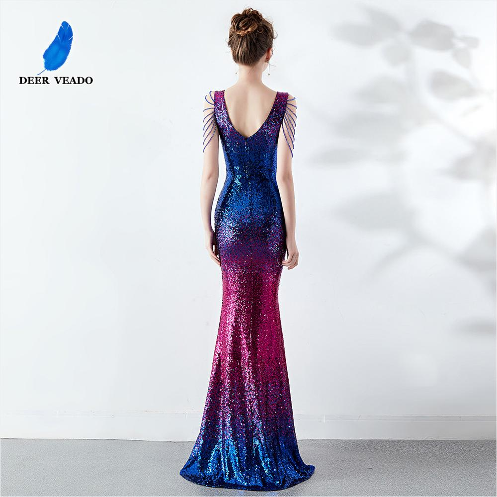 DEERVEADO Sexy Deep V Neck Sequin Evening Dress Mermaid Party Dresses with Beading Formal Dress Evening Gown K16180
