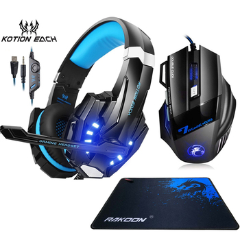 Kotion EACH G9000 Gaming Headset Stereo Deep Bass Headphones with Mic LED Light+Optical 5500DPI Mouse+Mouse pad for Gamer