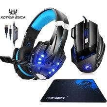 Kotion headset e mouse para games g9000, headset para gamers, stereo, grave forte, com microfone, luz de led, óptico, 5500dpi, mouse para jogos + mousepad para gamer