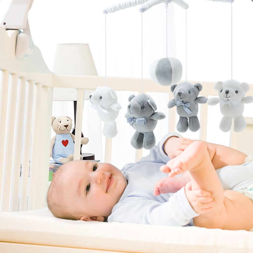 Foldable Baby Kids Crib Mobile Bed Bell Music Box Toy Holder Arm Bracket