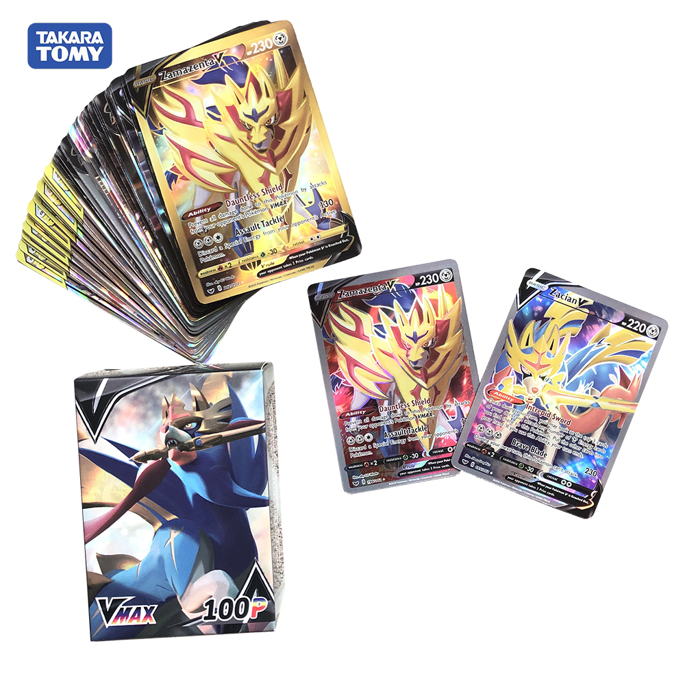 100pcs VMAX GX Monster Pokemon Sun & Moon Sword ShieldZacian Zamazenta Shining Battle Trading Carte Game Children Toys