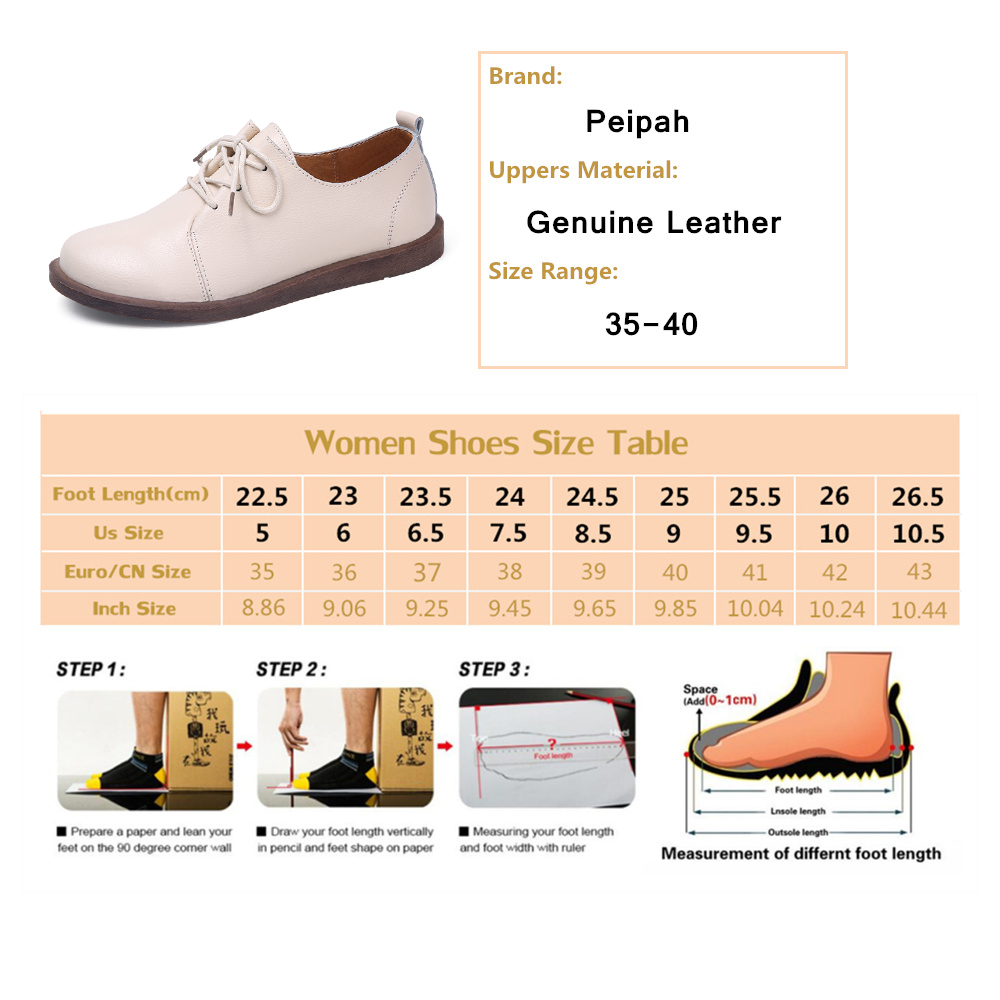 PEIPAH 2020 Women s Spring Autumn Shoes For Women Genuine Leather Casual Round Toe Flats Female