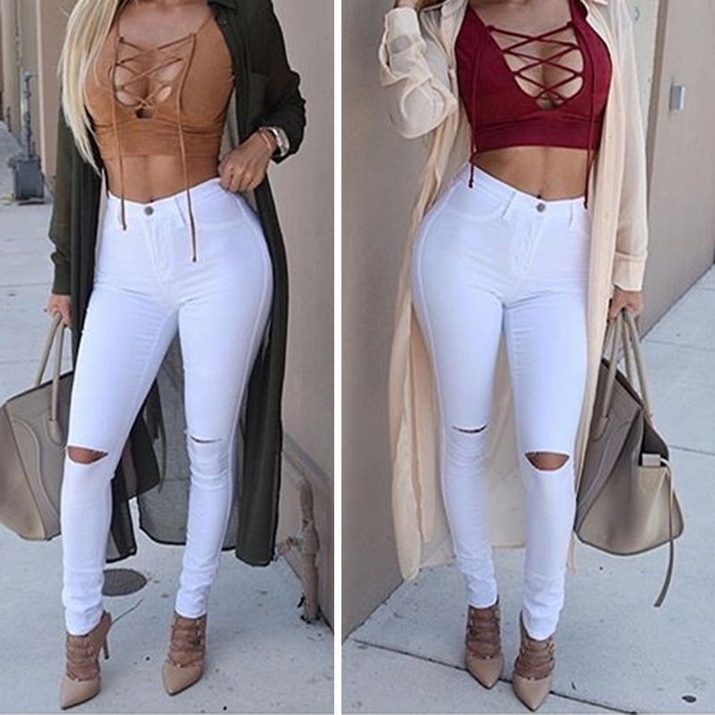Hot Models WOMEN'S Pants European And American-Style Sheath Slimming Jeans Knee With Holes Pencil Skinny Pants