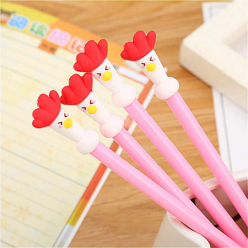 1pcs Hot Cartoon Rooster Gel Pen Colorful Creative Cartoon Ink Black Tools Student Writing Office Stationery