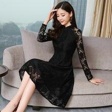 Женское кружевное платье средней длины черное Повседневное с