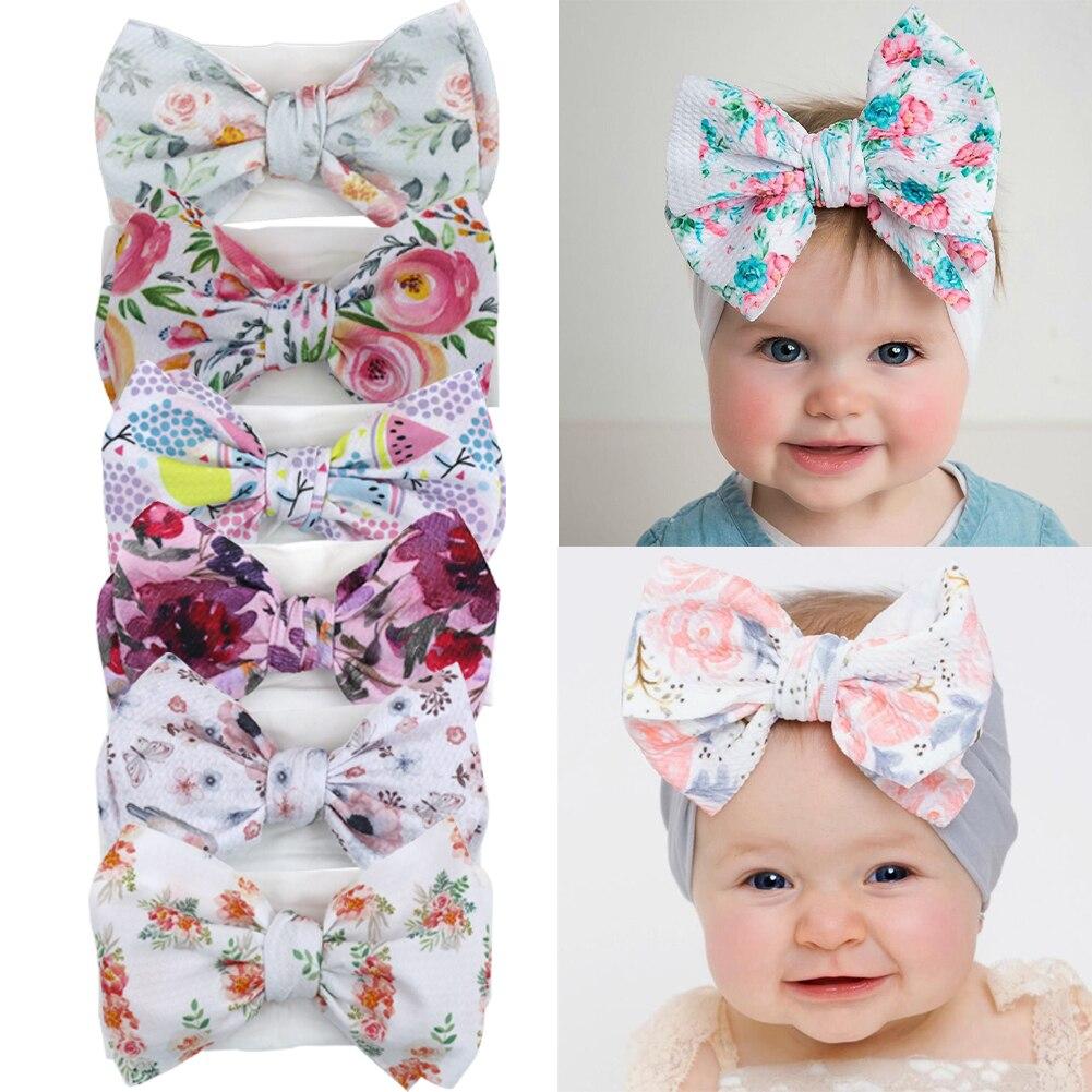 Bandeaux en tissu avec gros nœud imprimé   24 pièces, bandeaux pour bébés filles, nœuds à puces, bandeaux pour bébés bébés, accessoires pour cheveux