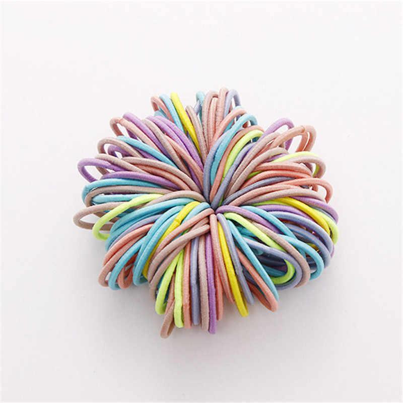 50/100 bandas elásticas de goma para niñas de Uds. Bandas elásticas para el cabello con cola de caballo para Niños Accesorios para el cabello de bebés lazos de goma para el cabello