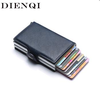 Rfid blokowanie ochrony mężczyźni id etui na karty kredytowe portfel skórzany Metal aluminium kart bankowych dla ludzi biznesu przypadku posiadacza karty kredytowej tanie i dobre opinie DIENQI Unisex CN (pochodzenie) Stałe 6 5cm C1807H3 9 5cm Id posiadacze kart Hasp Poduszki 0 13kg Karta kredytowa tarjetero