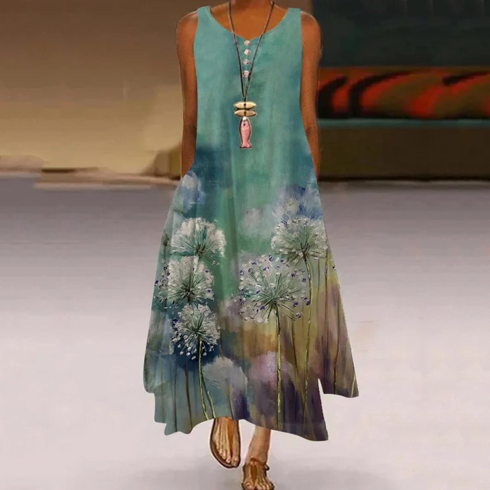 40# Vintage Maxi Dress Women Plus Size Tank Dress Floral Printed Sleeveless O-neck Dresses For Women 2021 Boho Pocket Robe Femme