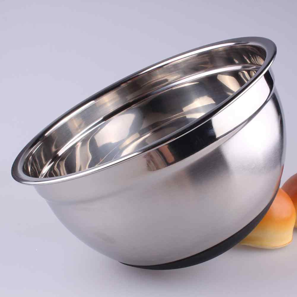 Set of 3 Stainless Steel Metal Deep Mixing Bowls Salad Spaghetti Pasta Caterer