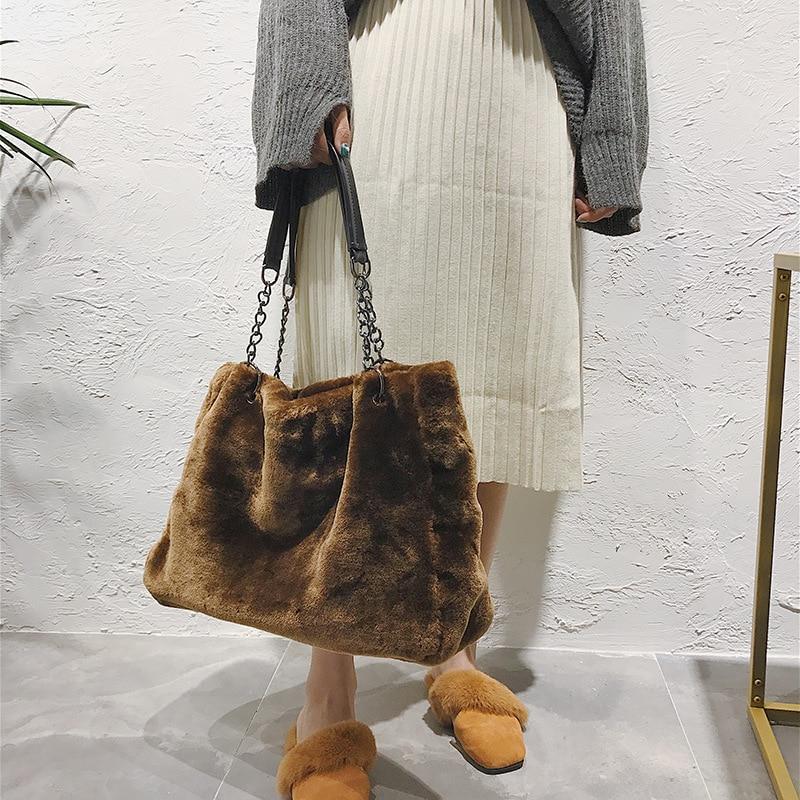 Autumn Winter Hot Sale Soft Plush Women Bag HandBag Fashion Large Capacity Shoulder Bag Causal Tote Shopping HM08