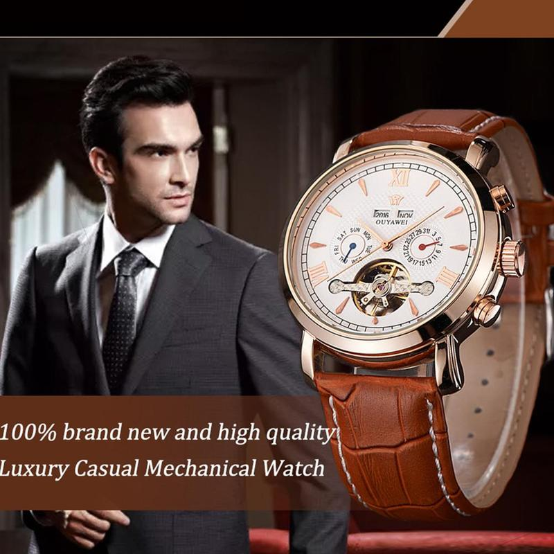 2019 Hot Sale OUYAWEI Leather Automatic Multi-function Men's 30m Waterproof Mechanical Watch Luxury Brand Men Fashion Watches