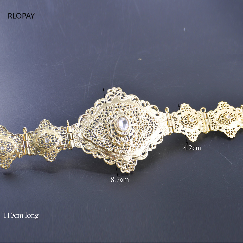 Image 4 - Moroccan Traditional Kaftan Belts In Gold Square Belt Buckles  with Hollow Flower Chain Arabic Luxury Wedding Dress BeltsBody Jewelry