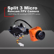 RunCam Split 3 Micro 1080P 60fps HD Recording WDR Low Latency 16:9/4:3 NTSC/PAL Switchable FPV Camera For RC Drone caddx turbo micro f2 1 3 cmos 2 1mm 1200tvl 16 9 4 3 ntsc pal low latency mini fpv camera for rc models upgrade caddx f1 4 5g