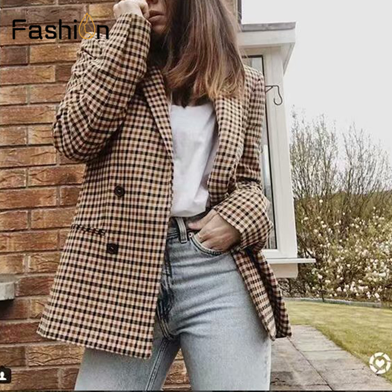 2019 Double Breasted Plaid Blazer Women Long Sleeve Slim OL Coats Women Blazers And Jackets Casual Autumn Jacket Blazer Female