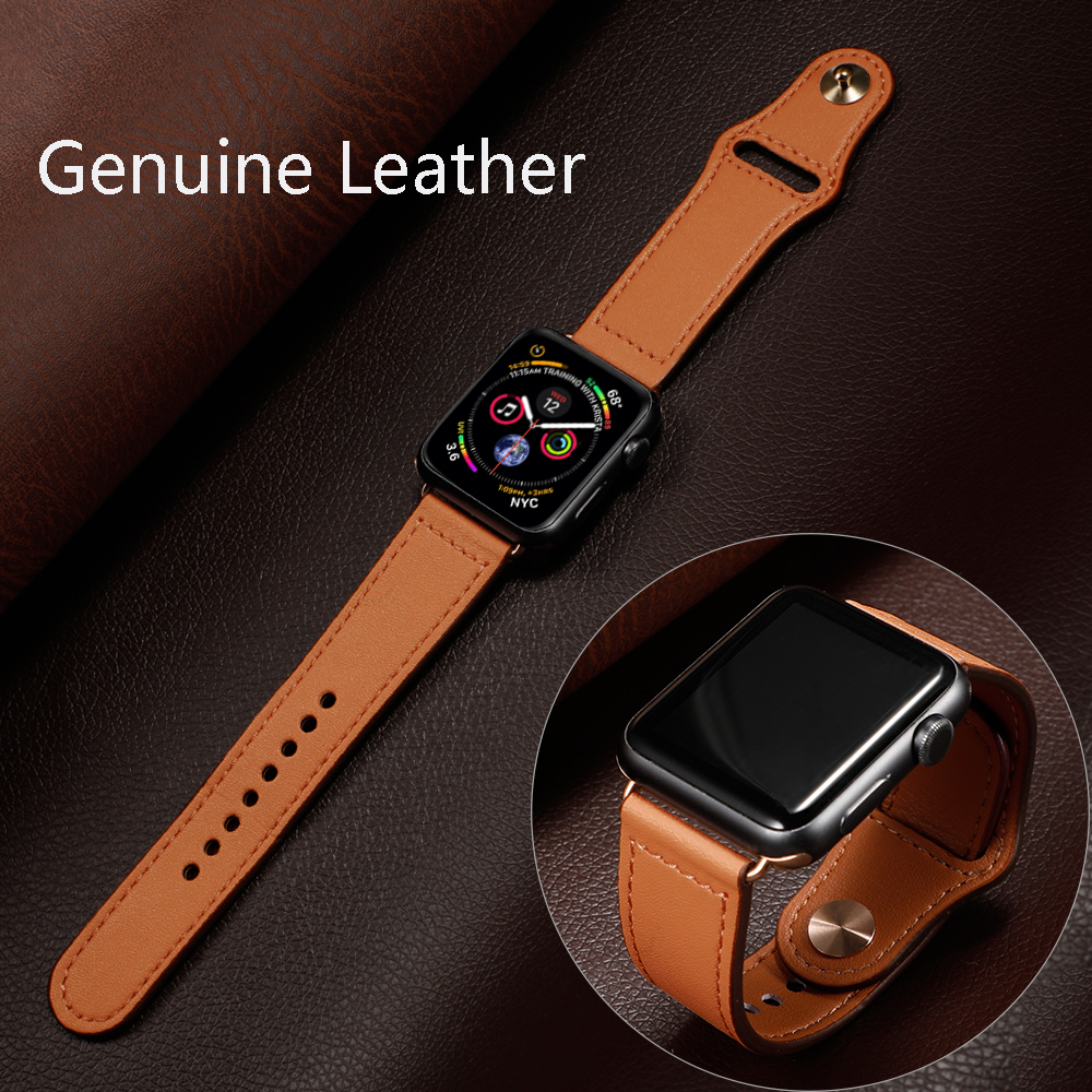 Strap For Apple Watch Band 44 Mm 40mm Iwatch Band 42mm 38mm Genuine Leather Bracelet Belt Watchband For Apple Watch  5 4 3 2 44