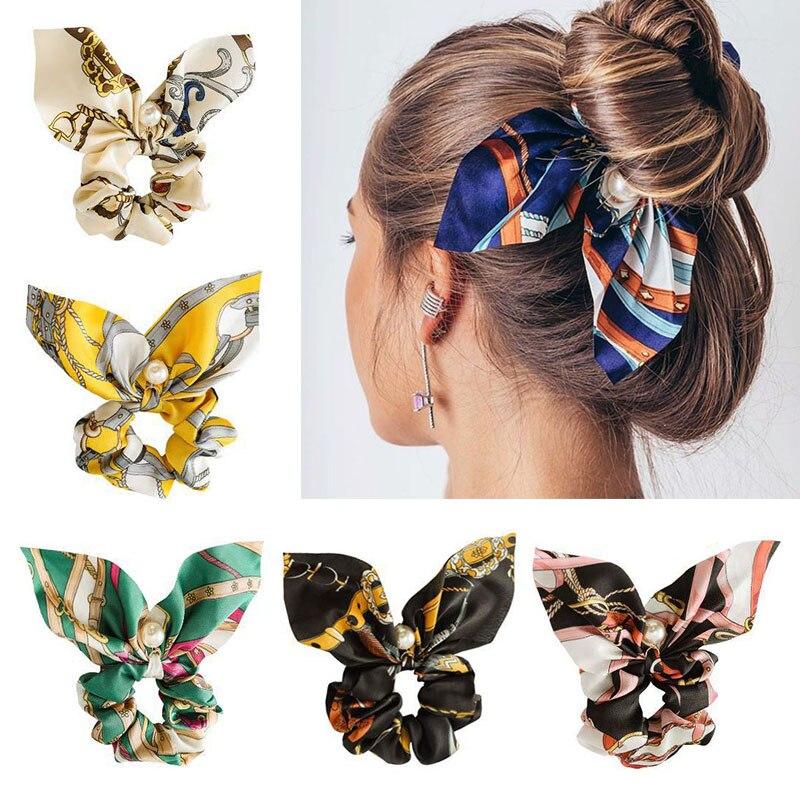 NEW Fashionable Bow Ponytail Hairband Girl's Elastic Hairband Flower Print Hair Accessories Women's Hairband Ribbon Headdress