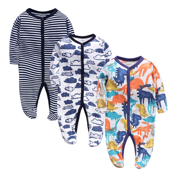 2019 Winter Soft and Comfortable Baby Clothes 100% cotton Black Stripped Sleepwear Climb Clothing Footies