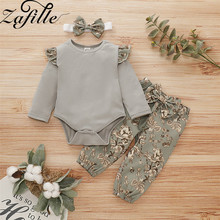 ZAFILLE 2020 Newborn Infant Baby Girl Clothes 3Pcs Long Sleeve Romper+Printed Pants+Headband Toddler Outfits Cotton Kids Clothes thanksgiving toddler kids baby girl clothes long sleeve tops plaid pants leggings headband 3pcs outfits clothes set