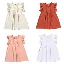 2021 nova primavera verão crianças voar vestidos de manga curta meninas bonito linda princesa vestido bebê criança moda roupas para a criança