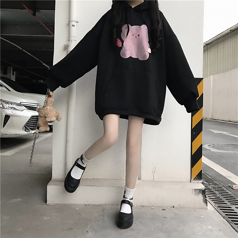 Cartoon Bear Printing Thicken Hoodies Women Harajuku Kawaii Oversized Hoodie Teens Girl Cute Anime Black Hooded Sweatershirt