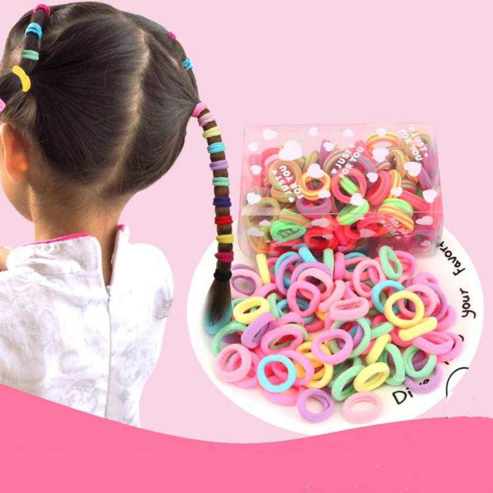 100pcs Elastic Rope Little Baby Girls Hair Bands Rings Headwear Accessories YO