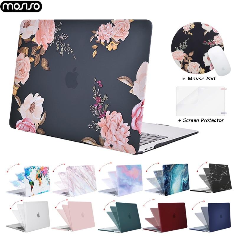 Mosiso capa dura para macbook air 13, retina pro 13 15 touch bar a2159 a1706 a1989 a1707 2019 2020 novo ar 13 a1932 a2179