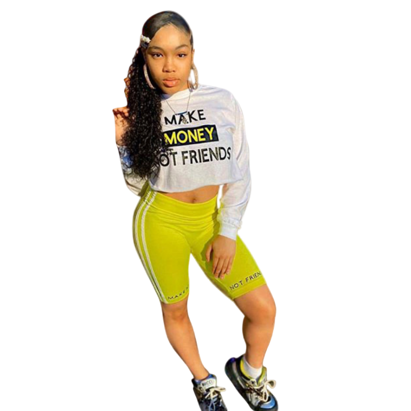 Women Two Piece Outfits Tracksuit Long Sleeve Crop Top And Biker Shorts Sweat Suits Summer Clothes 2 Piece Matching Sets
