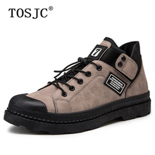 TOSJC Autumn Mens Ankle Boots Handsome Round-toe Sneakers Low-top Work for Man Fashion Outdoor Lace-up Skateboarding Shoes