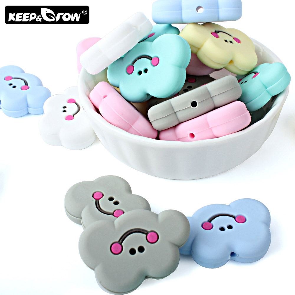 Keep&Grow 10pcs Cloud Silicone Beads Rodent Baby Teether BPA Free Silicone Pearl Teething Necklace DIY Accessories Baby Products