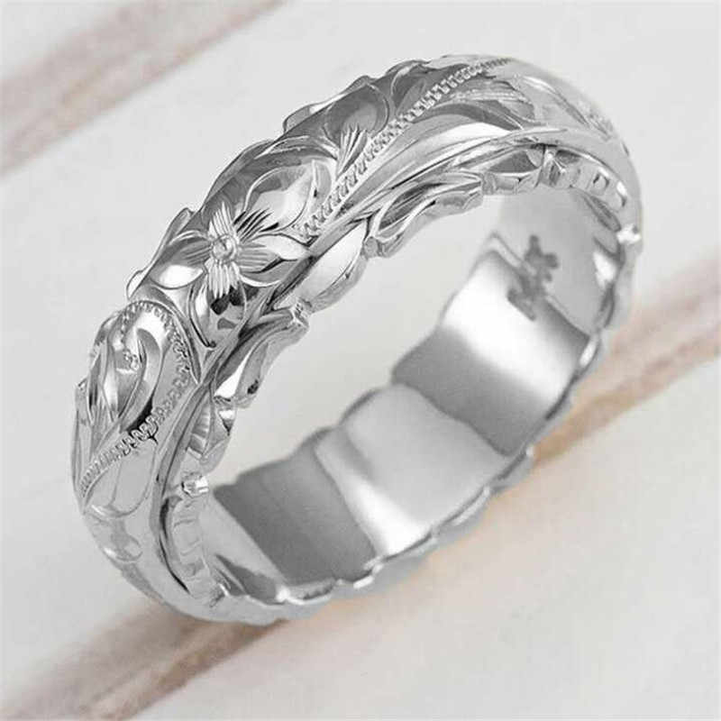 Creative Carving Rose Flower Ring for Women Gold And Silver Color Wedding Ring Jewelry European Style Lady Accessories