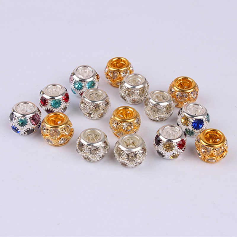 2 piezas de color Diamante de imitación Crochet trenzas pelo dread dreadlock cuentas tubo anillos para accesorios para el cabello aprox. 5mm agujero