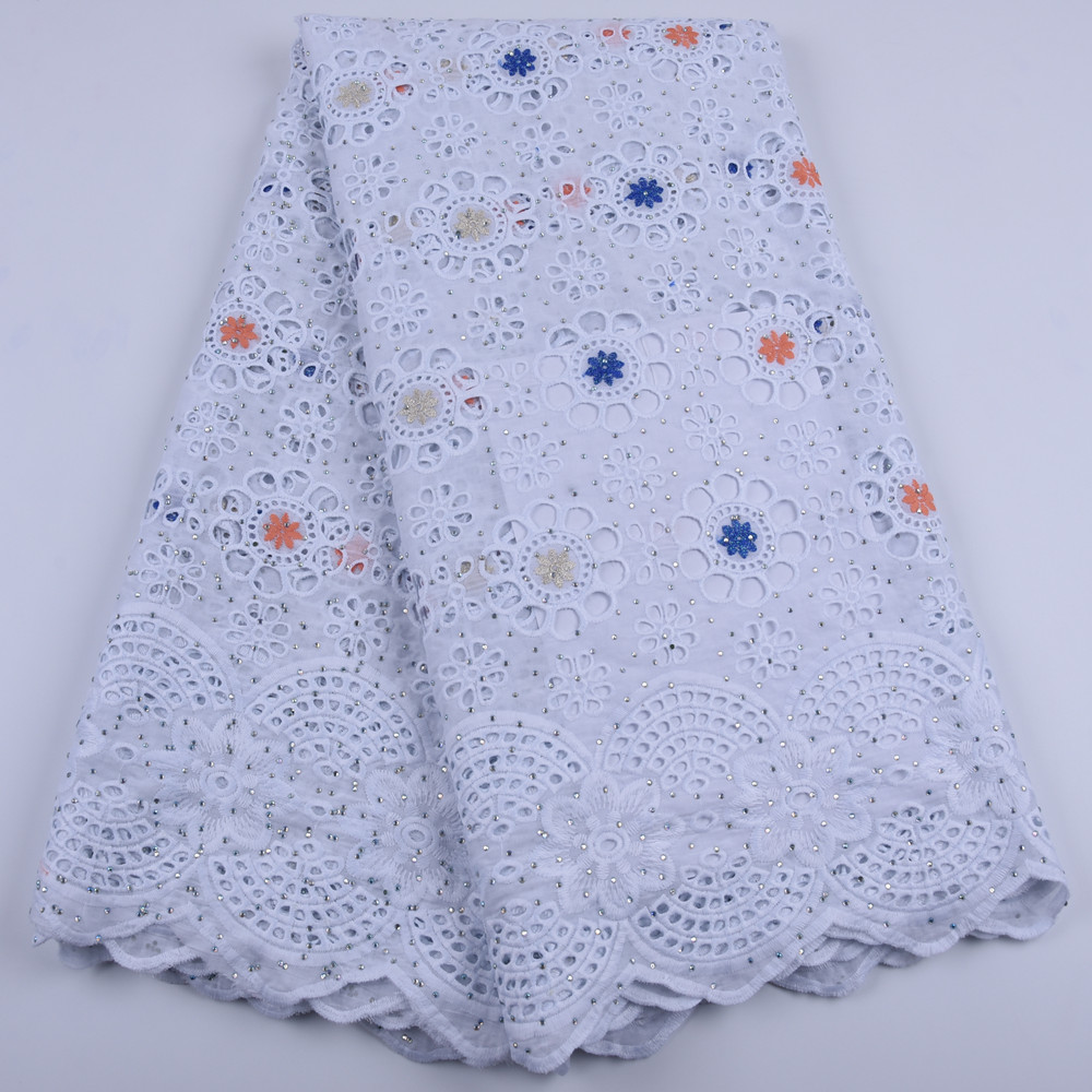 Image 3 - White African Cotton Lace Fabric High Quality Stones Swiss Voile  Lace Cotton Lace Nigerian Dry Lace Fabric For Wedding A1679Lace   -