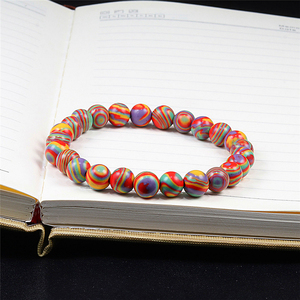 Image 4 - Nouveau bleu Malachite pierre naturelle Bracelets femmes hommes Chakra prière Mala bouddhiste perles Bracelet Bracelet Yoga brin charme bijoux
