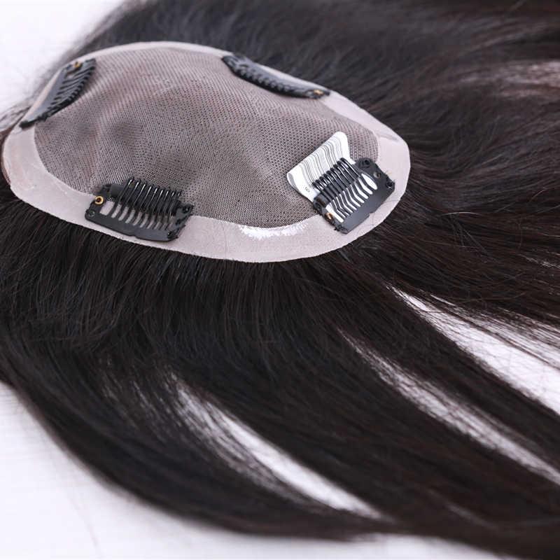 """10 """"-"""" 20 스트레이트 레이스 + PU 머리 토퍼 인간의 머리카락 머리카락 여성을위한 자연 색상 레미 여성 Toupee 더블 매듭"""