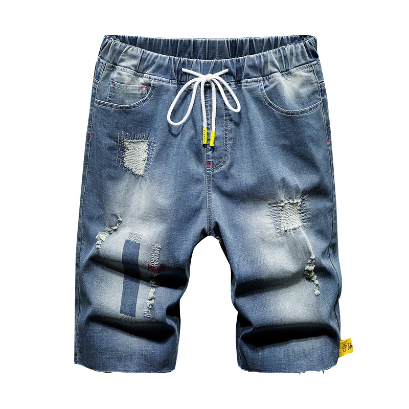 Large Size 7XL Summer Fashion Men Clothing Ripped Straight Denim Shorts Jeans Casual Destroyed Hole Fit Male Brand Men's Pants