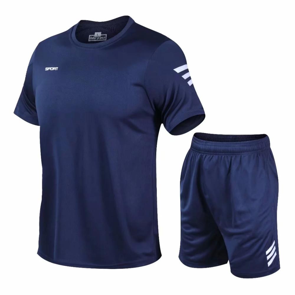2 Pcs/Set Men's Tracksuit Gym Fitness badminton Sports Suit Clothes Running Jogging Sport Wear Exercise Workout set sportswear 1