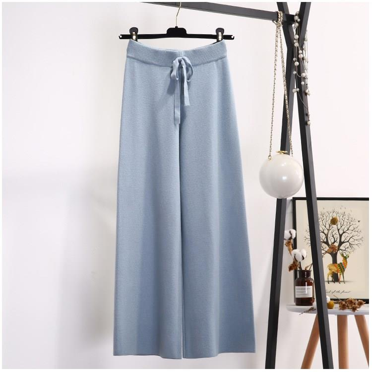 Tide Korean Section Fashion Women Trousers Knitted Wide Leg Pants Solid Elastic High Waist Casual Loose Trousers