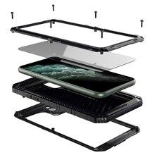 יוקרה מתכת אלומיניום IP68 עמיד למים טלפון מקרה עבור iPhone SE 2 11 פרו Max XR X 6 6S 7 8 בתוספת XS מקסימום עמיד הלם Dustproof כיסוי