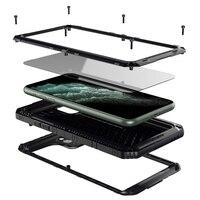 Luxo ip68 à prova de água metal alumínio caso do telefone para o iphone 11 pro max xr x 6 s 7 8 plus xs max à prova de choque à prova dshockproof água capa