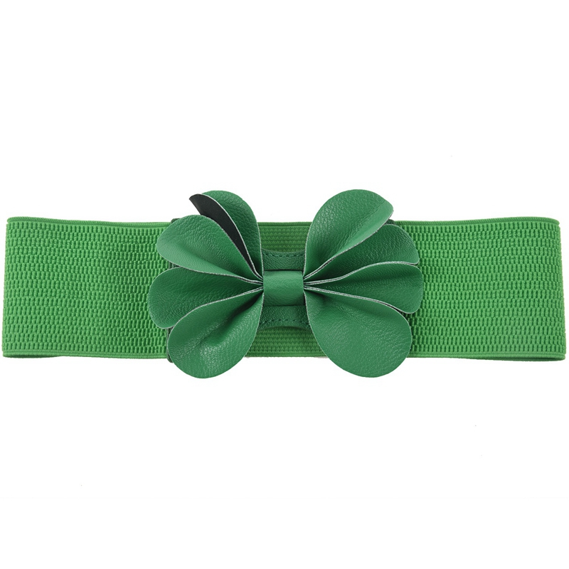 Green Faux Leather Flower 7.5cm Wide Elastic Cinch Belt For Woman