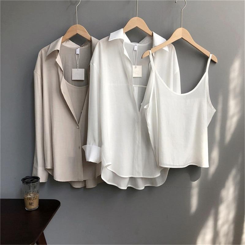 High quality 2pcs Women Blouse Shirt 2020 Summer Solid All match Satin Blouses Shirts Femal Blouse+halter tops Z1082 (42)