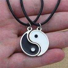 2 pçs moda yin e yang tai chi costura liga preto branco melhores amigos casal pingente de couro colar acessórios jóias