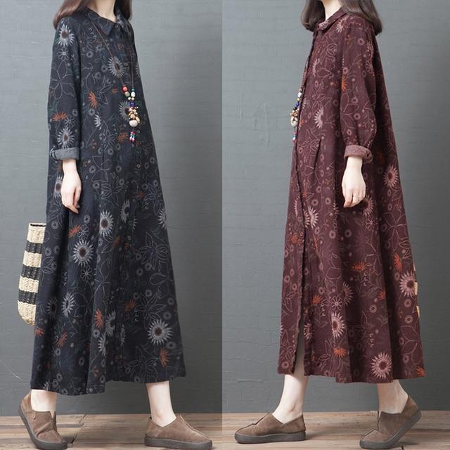 NYFS 2020 New Autumn Woman Dress Loose Vintage Cotton Printing  long Dress vestido de mujer Robe Elbise women's dress 4