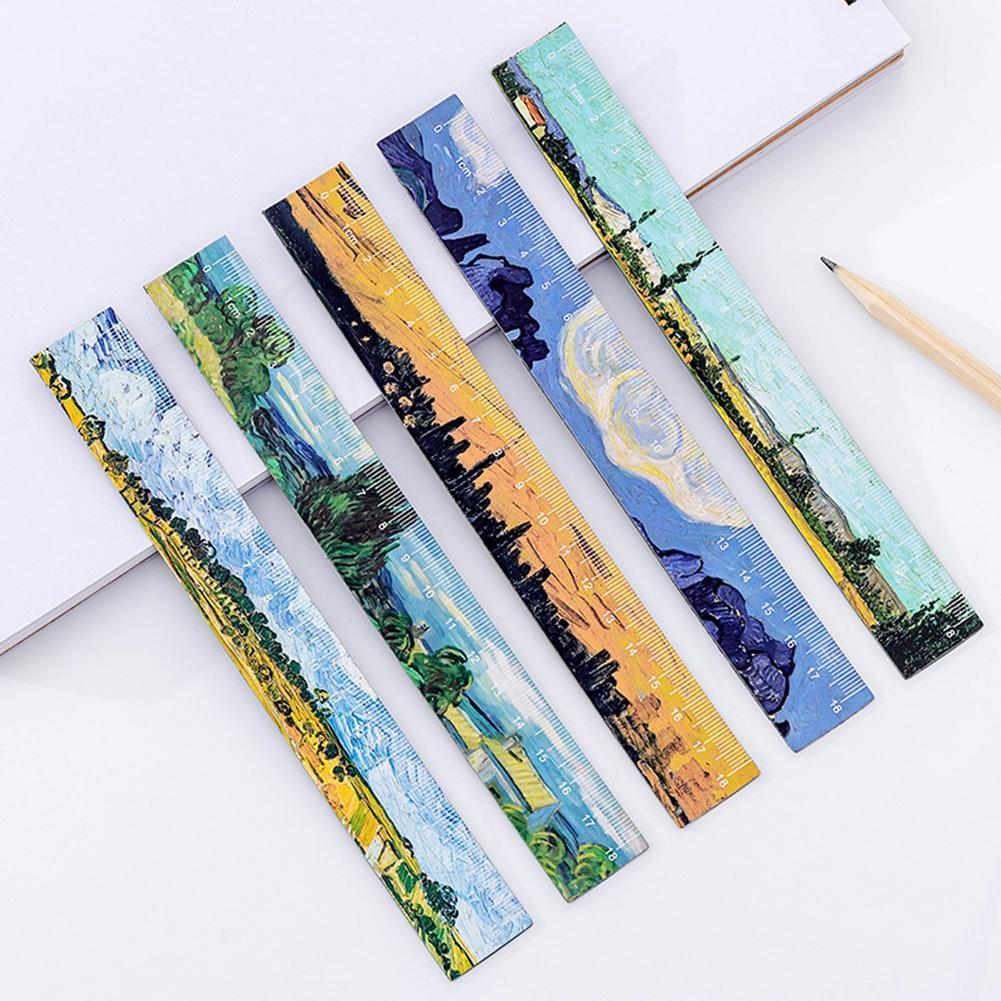 1PC Cartoon Simple Creative Oil Painting Magnetic Soft Ruler Painting Bookmark 18cm Ruler Stationery Magnetic Cute Learning F8O1