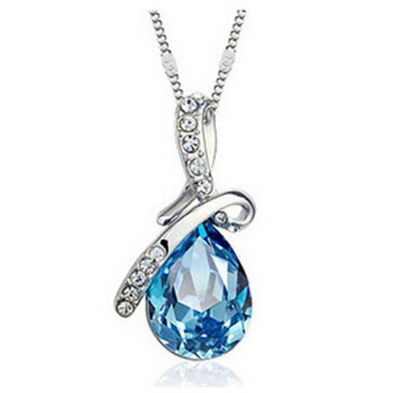 New Beautiful Female Exquisite Silver color Jewelry Blue Crystal Water droplets pendant Clavicle Chain Necklaces party jewelry