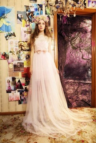 Free Shipping Robe De Soiree 2014 New Fashion Vestido De Festa Pink Tulle Bride Long Lace Bow Formal Gown Imported Party Dress