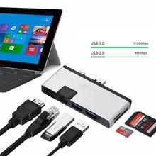 mini Displayport DP & USB3.0 to HDMI OTG RJ45 Gigabit Ethernet Adapter for Surface 4/5/6