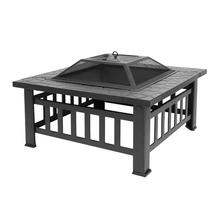 Portable Courtyard Metal Fire Bowl with Accessories Black Outdoor BBQ Fireplace Fire Pit
